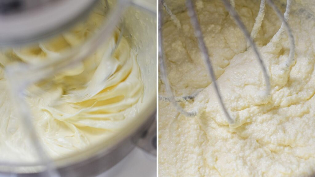 side by side of cream getting whipped inside a stand mixer and becoming grainy