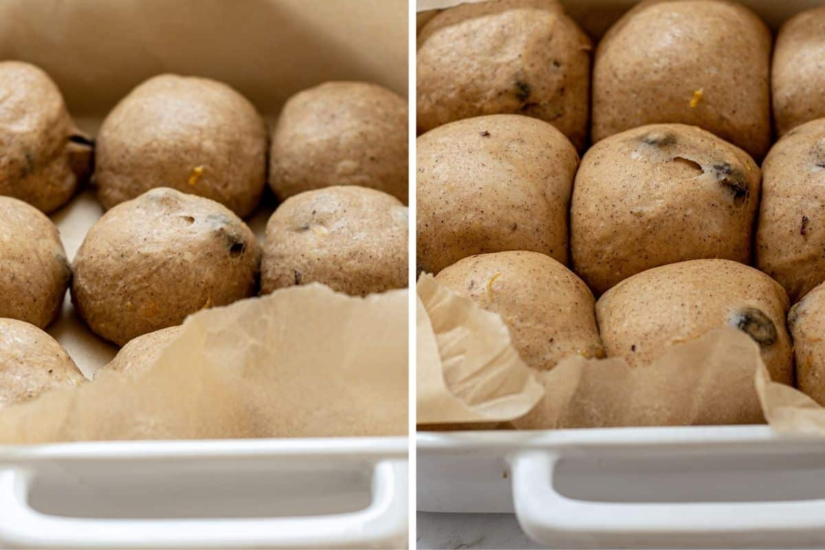 side by side of hot cross buns rising and risen
