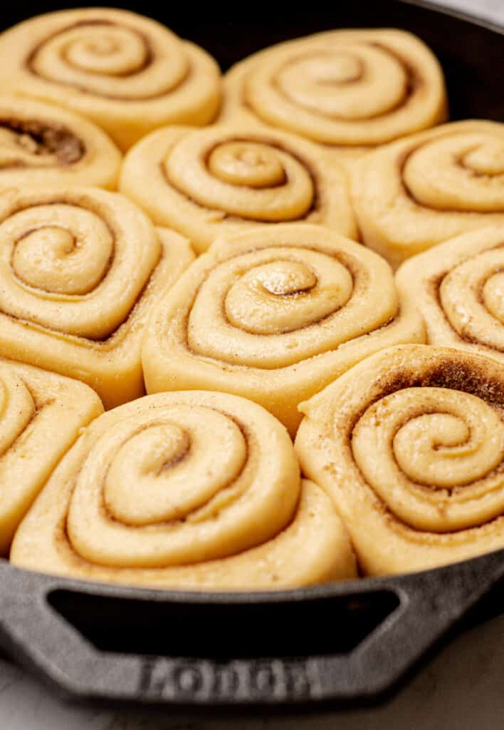 a cast iron pan with risen dough rolls filled with cinnamon sugar