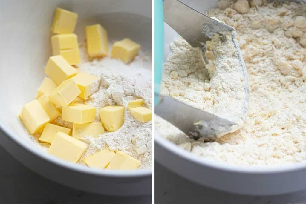 side by side of butter pieces being cut into flour