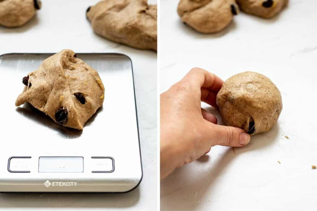two pictures side by side. On of dough being weighed on scales, the other of a dough ball being formed by hand