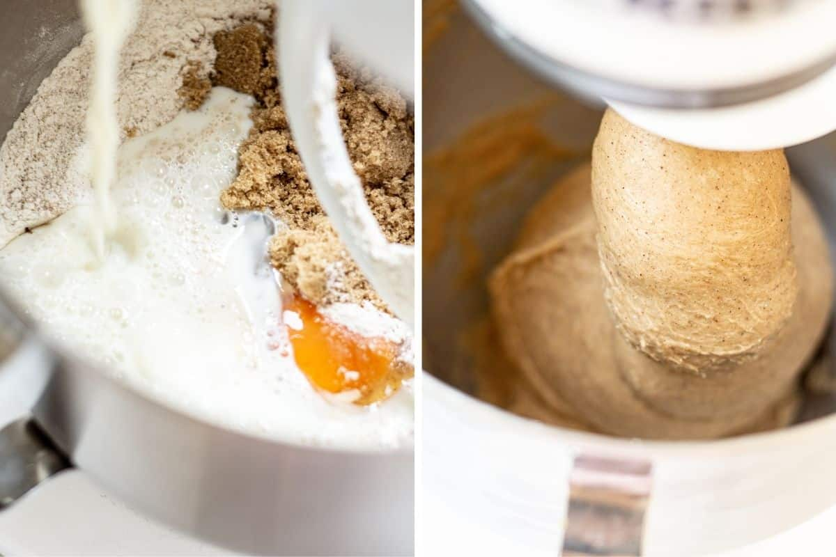 side by side pictures of ingredients in a mixer, and a picture of the ingredients made into dough
