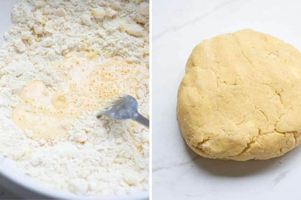 side by side of a fork mixing egg into flour and a disc of mixed shortcrust pastry dough
