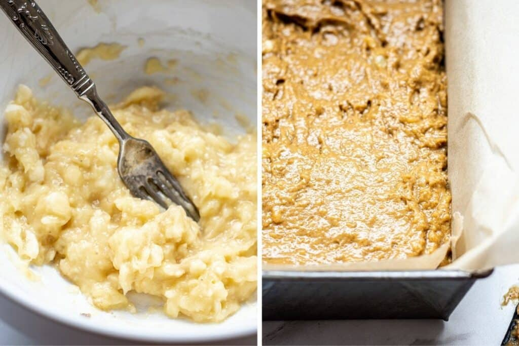 side by side of a bowl of mashed bananas and a loaf tin of banana bread batter