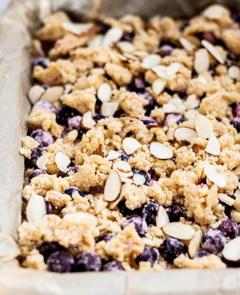 unbaked blueberry crumble bars in a tin