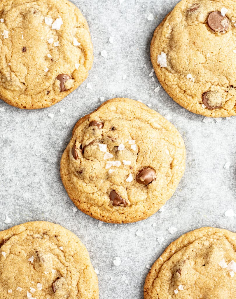 bird's eye view of burnt butter chocolate chip cookies