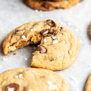 close up of a cookie with melted chocolate chips