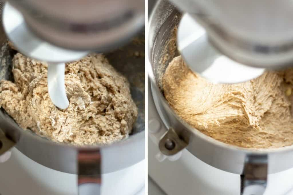 side by side of dough being mixed