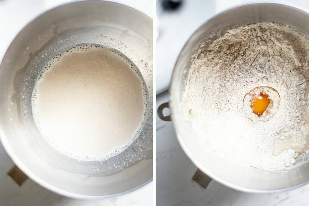 a silver bowl of foamy yeast and milk on one side, then a silver bowl with flour and egg added on the other side