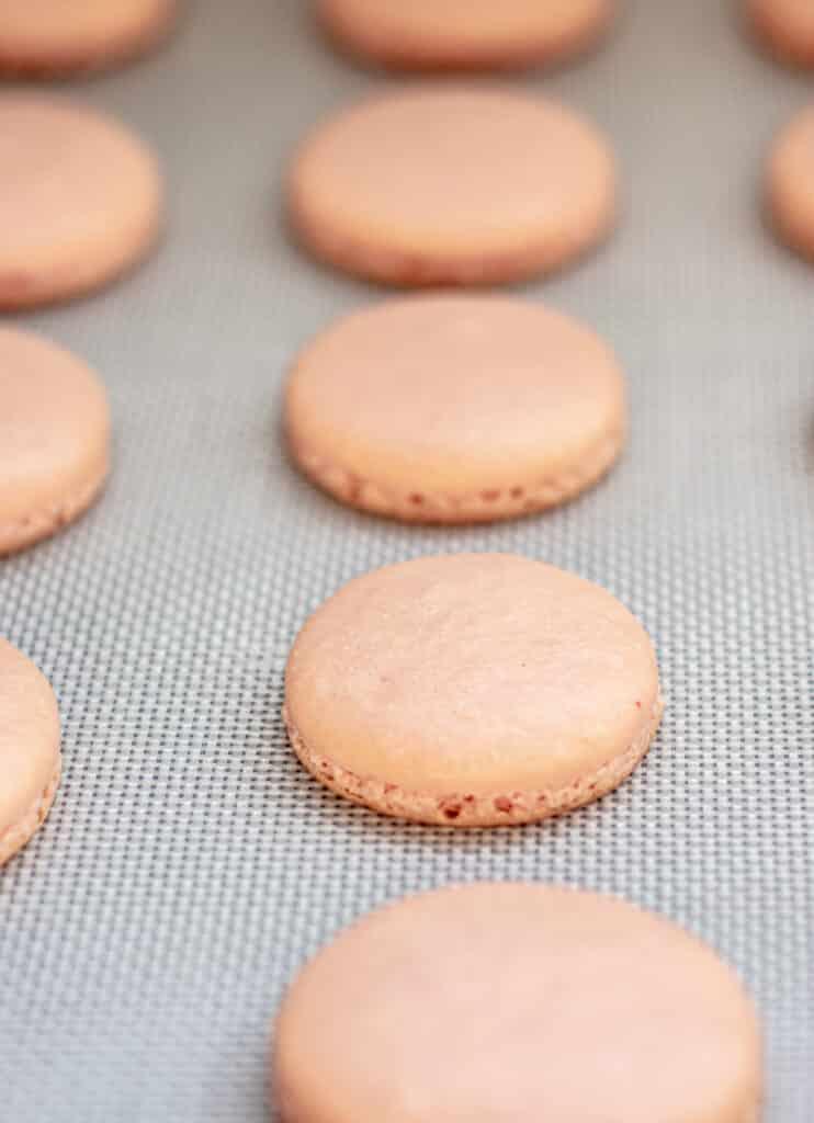 baked pink macarons