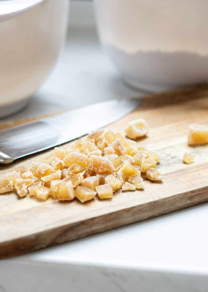 chopped ginger on a wooden board