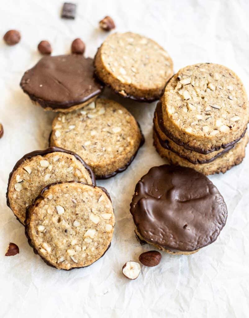 Stacks of hazelnut and chocolate cookies