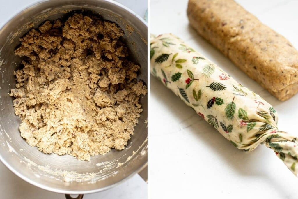 Side by side of cookie dough, then cookie dough rolled into logs