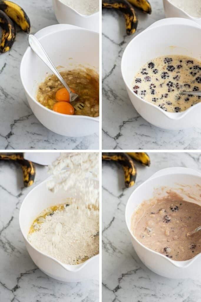 pancake mix in a white bowl