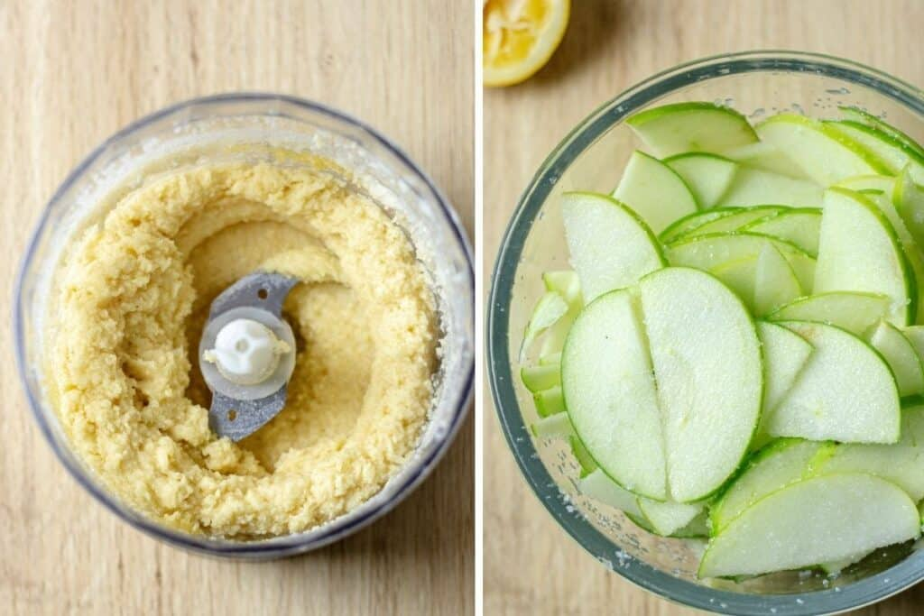 side by side of almond cream and apples