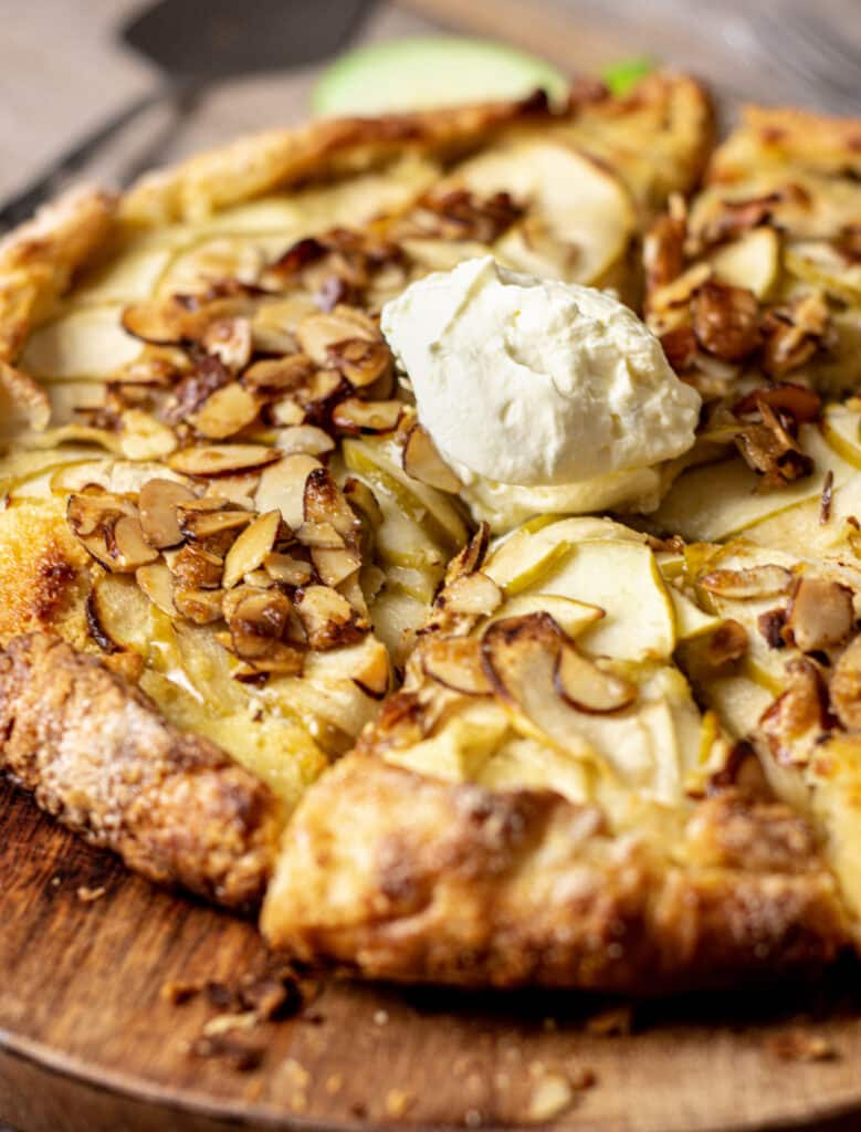 almond galette with cream