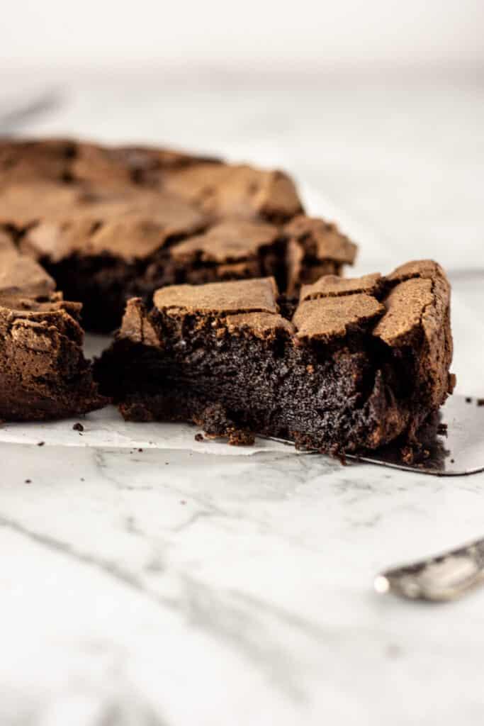 a slice of moist chocolate cake