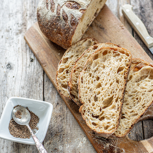 sliced sourdough with caraway seeds
